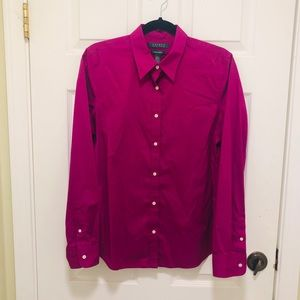 RALPH LAUREN Fuchsia Button Down Oxford Blouse